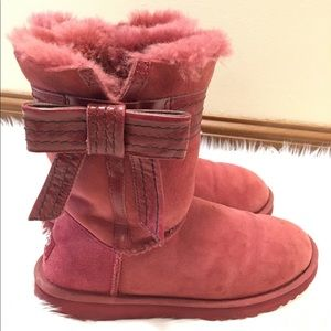 Ugg Josette Sangria Suede Bow Boots 8